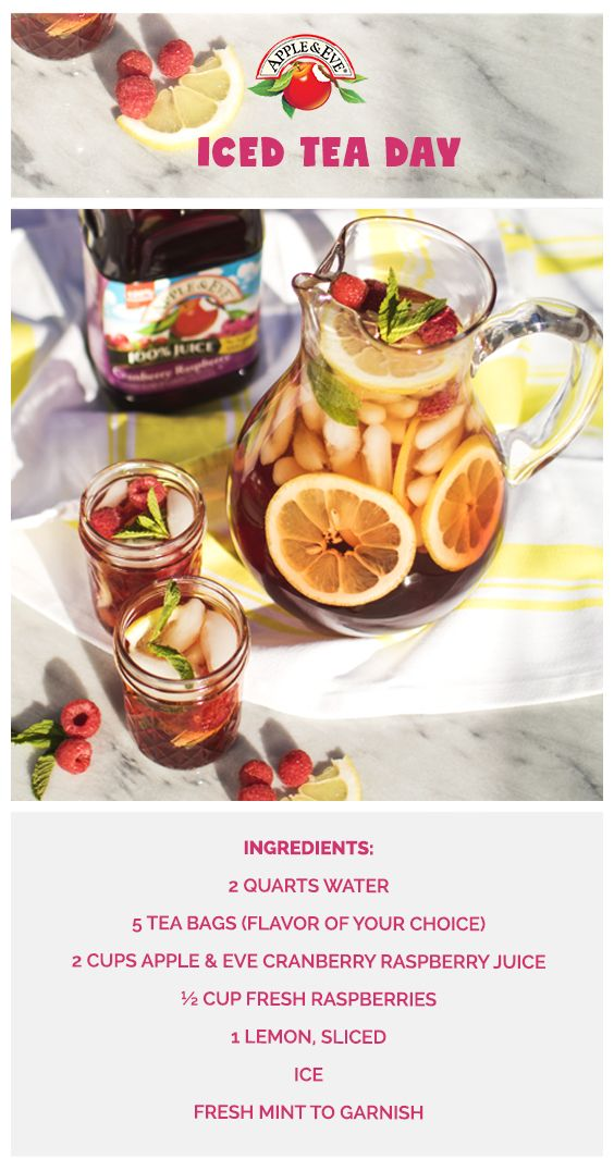 Raspberry sun-steeped tea is a porch-ready summer treat the whole family will love. Add 2 quarts of cold water to a pitcher and add 5 tea bags. Let steep in the sun for 2 hours. Add Apple & Eve juice, fruit, and mint. Serve over ice and enjoy!