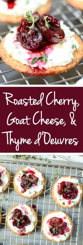 Roasted Cherry, Whipped Goat Cheese, & Thyme Hors d'Oeuvres are a can't-stop combo of juicy cherries, tangy goat cheese, and earthy thyme, atop a crispy cracker. #AD | theeverykitchen.com