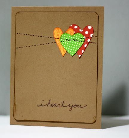homemade cards: Cards Ideas, Sewn Cards, Handmade Cards, Valentine Cards, Valentines Cards, Homemade Cards, Cards Diy, Sewing Machine, Heart Cards