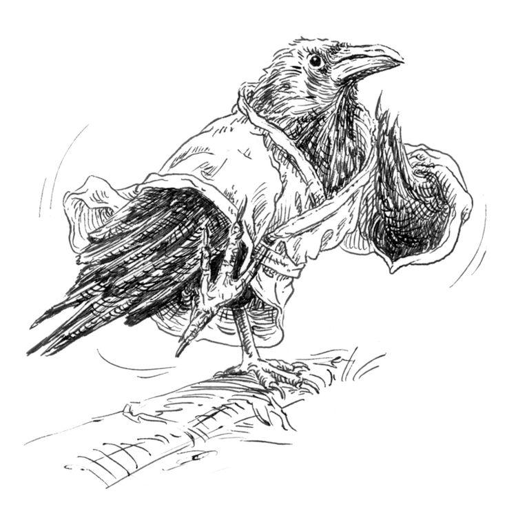 Un corbeau en karateka (le vêtement d'entraînement japonais s'appelle keikogi)