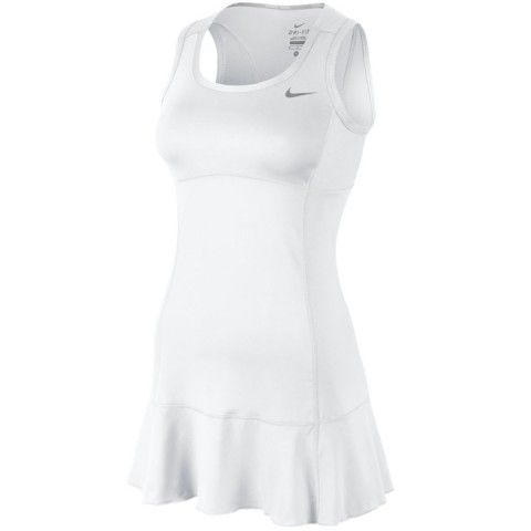 Women Nike Flouncy Knit Dress white - Tennis Planet.  New tennis whites for today's finals!