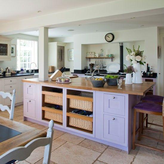 TGBBO Kitchen  Purple kitchen island | Island unit | Kitchen idea | Countryside retreat | Image | Housetohome