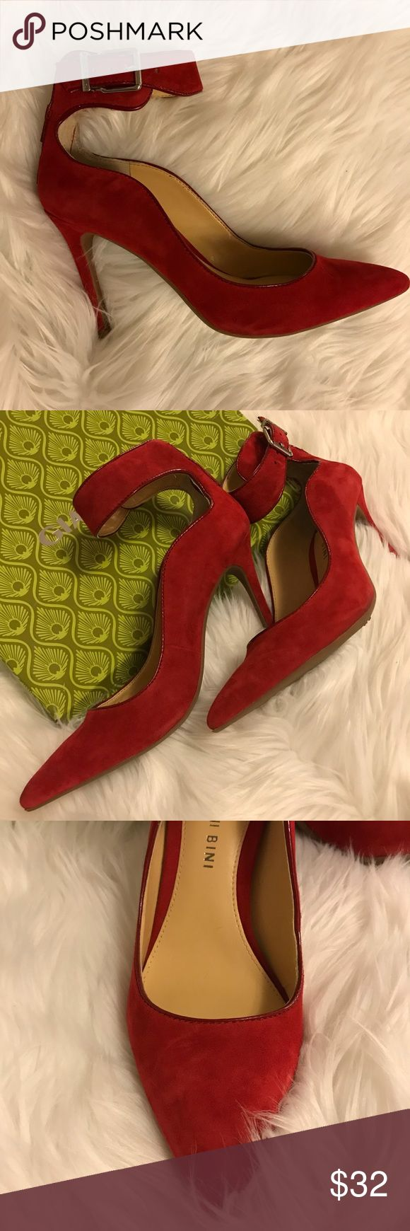 "Gianni Bini brand pumps Royal red; approx. 3"" heel; silver-toned hardware; worn twice; was bought with frayed inside-portion of left toe box (visible on last photo). It's time to retire her from my closet! May ship with original box. Gianni Bini Shoes Heels"