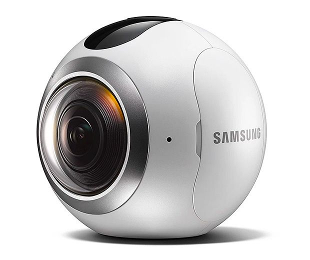 Samsung Gear 360 -- The Gear 360 camera works with Samsung's Galaxy S7 and S7 Edge smartphones to create 360º VR photos and video. The simple 3-button sphere uses a pair of wide-angle cameras each with a 195º field of view, which is stored on SD card memory & easily stitched together into full 360 imagery through the companion app.