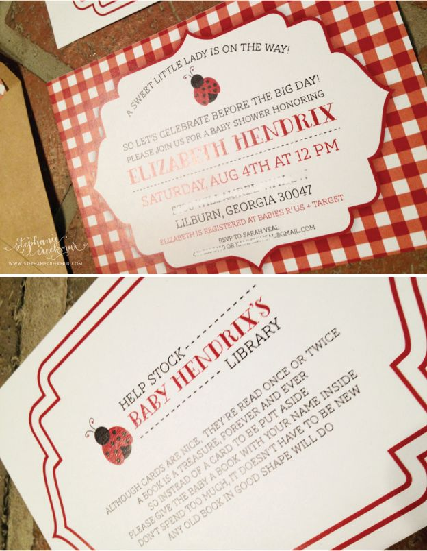 Country Baby Shower Invites (minus The Lady Bug)
