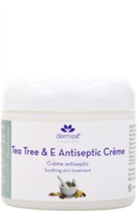 Tea Tree and E Antiseptic Creme Treatment 4 Ounces by Derma-E. Save 45 Off!. $7.55. 4 Ounces Cream. Serving Size:. This rich, soothing crme with unlimited uses combines 5% Tea Tree Oil and 3,000 I.U. of Vitamin E with other synergistic herbs, vitamins and natural oils. Its antiseptic properties make it perfect to treat many conditions including blemishes, fungal infections, sunburn, dry skin, rashes, and dermatitis. It soothes itchy bug bites and also works as a natural insect ...