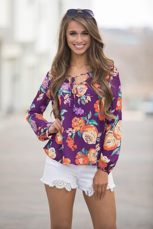 She's A Wildflower Blouse Berry - The Pink Lily
