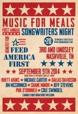 TONIGHT 9/9!! Get tickets HERE for MEALS FOR MUSIC: Rhett Akins, Dallas Davidson, Cole Swindell and many more at 3rd and Lindsley on Tuesday, Sep 09, 2014 7:30 PM.