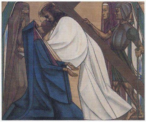 Jan Toorop, Jesus Meets the Weeping Women (Eighth Station). 1916. Crayon, 58 × 88 cm. St Bernulfus, Oosterbeek.