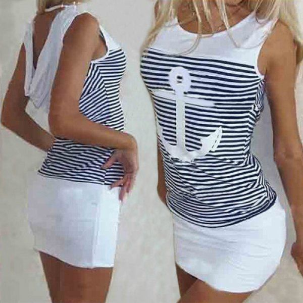 Casual Scoop Collar Sleeveless Striped Anchor Pattern Women's Dress