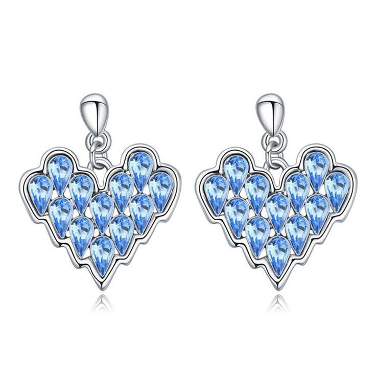 Austrian Crystal Drop Earrings - Pounding Heart