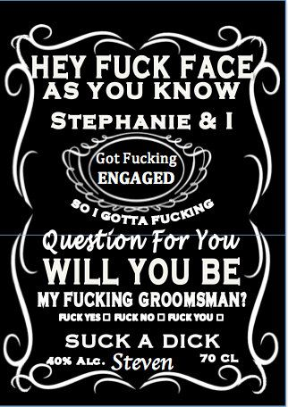 Set Of 4 Will You Be My Groomsman Crude Cursing Jack By KJROXTON
