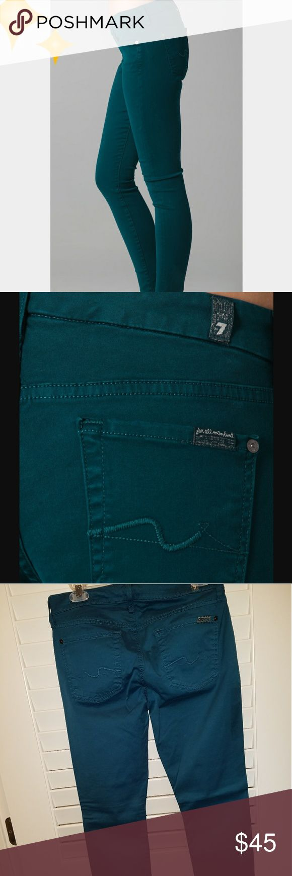 """Seven for all mankind  """"qwenevere """"JEANS Teal color skinny Jean with 8"""" rise. 29.5"""" inseam, size 28. NWT! 7 For All Mankind Jeans Skinny"""