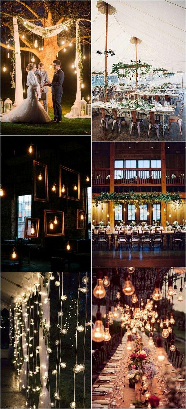 chic backyard wedding ideas with Edison bulbs #backyardweddings #weddingideas #weddingdecor #weddinglights #weddinginspiration