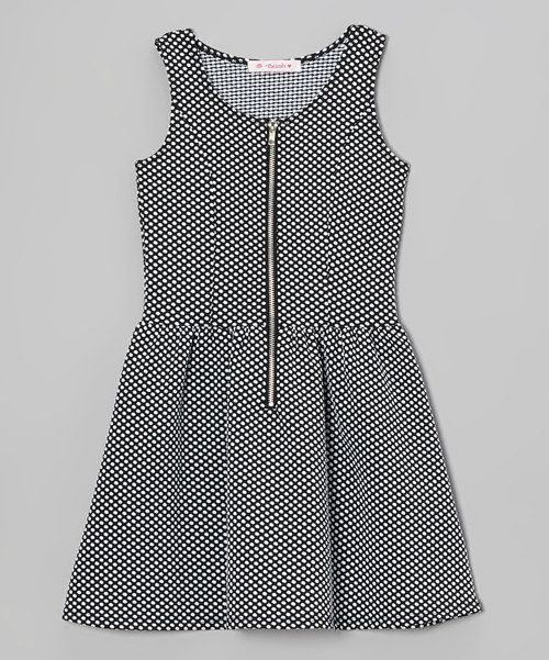 Take a look at the Blush Black Polka Dot Zip-Up Dress - Girls on #zulily today!