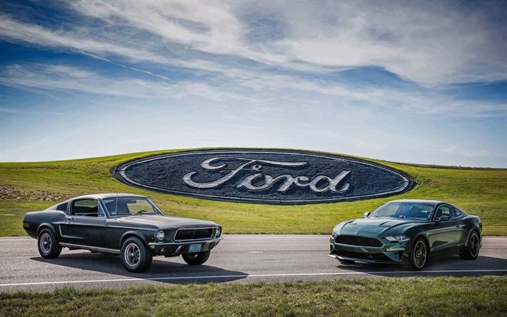 Download wallpapers 4k, Ford Mustang Bullitt, evolution, 2018 cars, 1968 cars, muscle cars, retro cars, Mustang, Ford