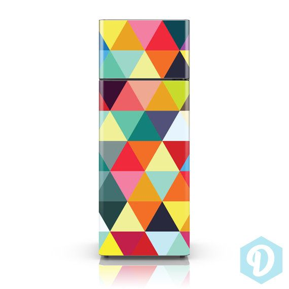 Fridge Decal - Colourful Triangles - Fridge Skin Vinyl Sticker Decal - HD Print - Fully Customizable