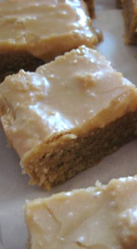 I finally found the recipe to recreate those yummy nostalgic peanut butter bars from back in my elementary school days. I didn't like most of the things served