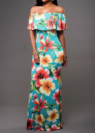 Flower Print Open Back Flounce Embellished Dress - USD $25.01
