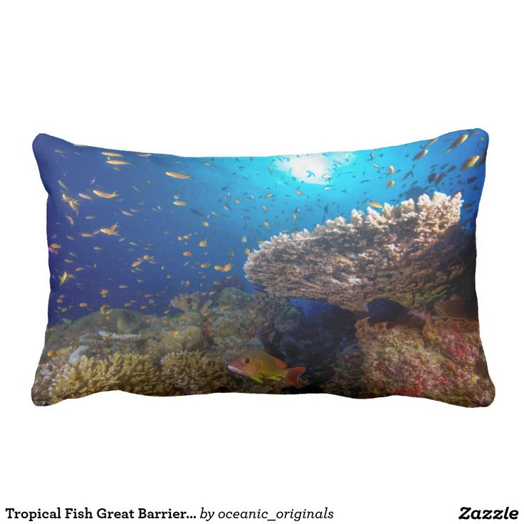 A throw pillow featuring the schools of abundant tropical fish and amazing corals found in the Coral Sea on Australia's Great Barrier Reef in the Coral Sea.