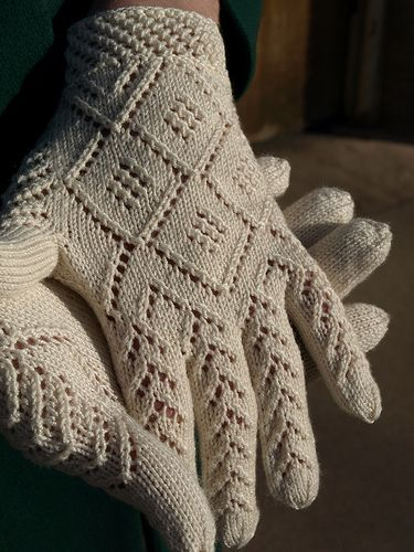 Norwegian Wedding Gloves by Nancy Bush, published in Piecework, Nov/Dec 2008, Knitting Traditions, Winter 2010