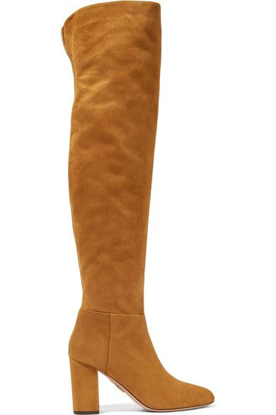 Aquazzura - London Suede Over-the-knee Boots - Camel