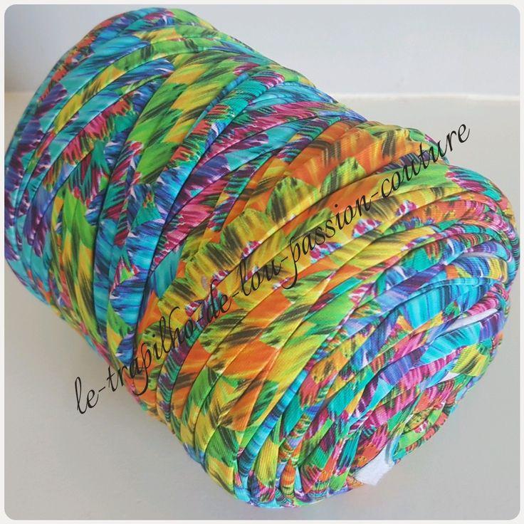 Grosse Bobine de trapilho coton élastique fantaisie : Fils par le-trapilho-de-lou-passion-couture