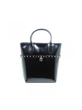 Patrizia Pepe borsa shopping in pelle con tracolla staccabile Nero