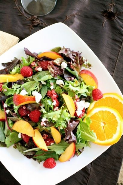 nectarine and summer fruit salad with raspberry vinaigrette (thecurvycarrot.com)