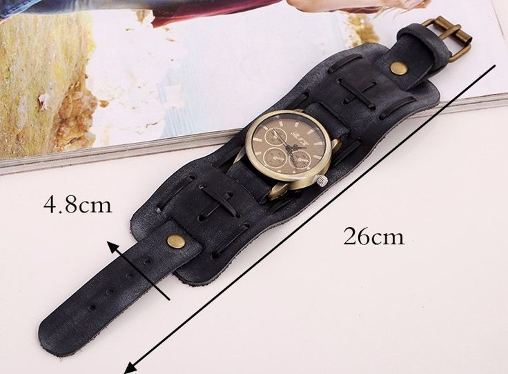 Punk Vintage Watch Retro Rock Leather Bracelet Watch for Men Gift online - NewChic