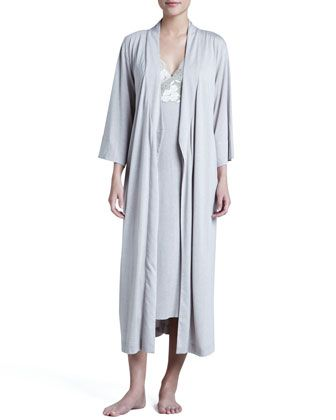 Zen Long Jersey Wrap Robe & Floral-Trim Gown by Natori at Neiman Marcus.