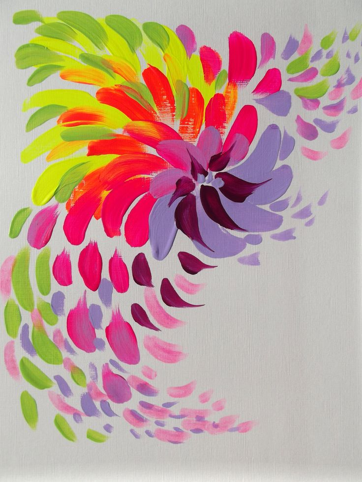 Abstract pink flower original acrylic painting modern for Acrylic mural paint