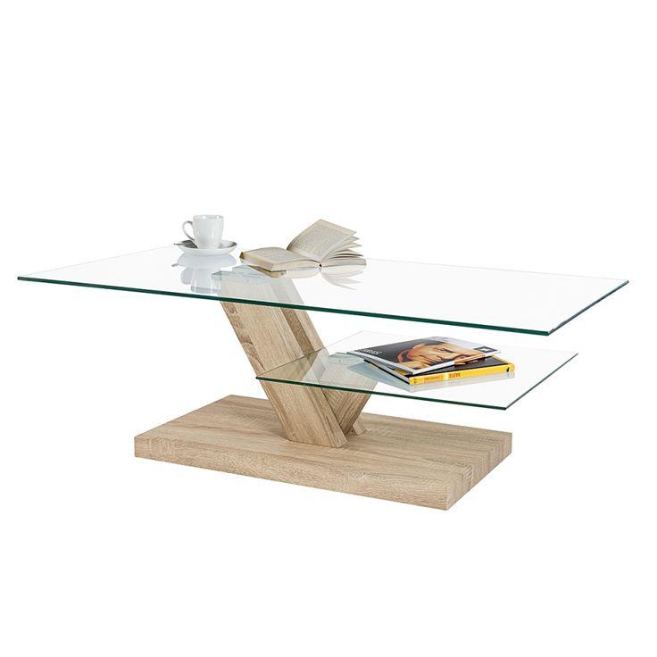Table basse Swansea - Imitation chêne de Sonoma / Verre