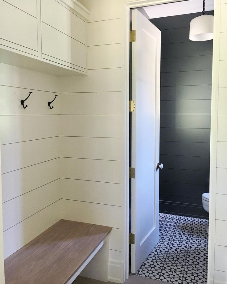 mudroom connected to powder room