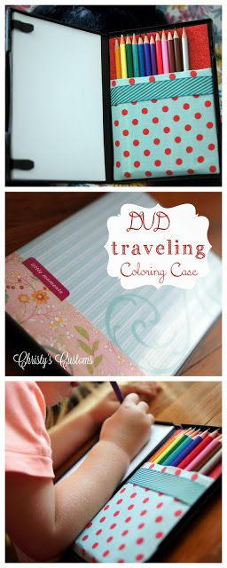 Christy's Customs and the Little House by the Olive Tree: Old DVD Case Turned Traveling Coloring Case... Genius!!