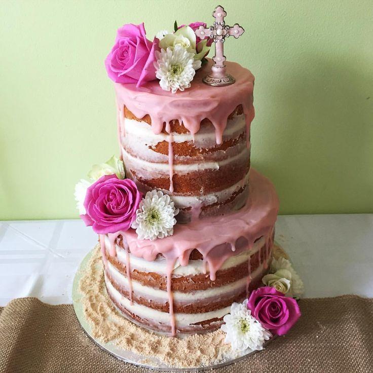 """Tammy on Instagram: """"First ever naked cake #nakedcake #nakedcakes #baptism #baptismcake #flowers #flowercake #ifeelnaked"""""""