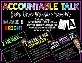 Use these accountable talk posters in your music room! They are appropriate for all ages!