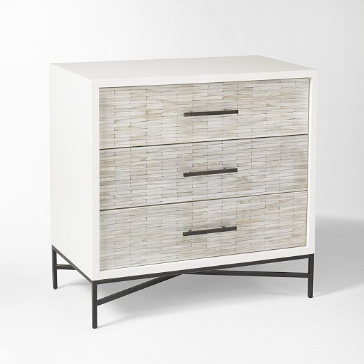 """Wood Tiled 3-Drawer Dresser/Bedside Table 
