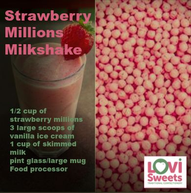 Strawberry Millions Milkshake - Click to get the full recipe. Buy sweets online @ LoviSweets