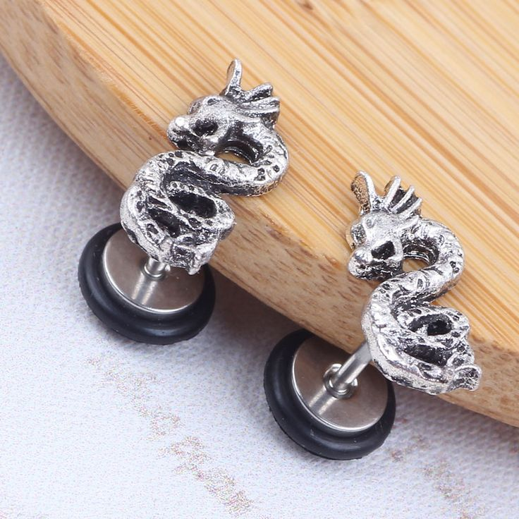 New Design Dragon Barbell Earrings Ear Stud Fake Ear Gauge For Women Men 316L Stainless Steel Steel With O Ring -  Get free shipping. Here we will give you the best deals of finest and low cost which integrated super save shipping for New Design Dragon Barbell Earrings Ear Stud Fake Ear Gauge For Women Men 316L Stainless Steel Steel with O ring or any product promotions.  I think you are very lucky To be Get New Design Dragon Barbell Earrings Ear Stud Fake Ear Gauge For Women Men 316L…