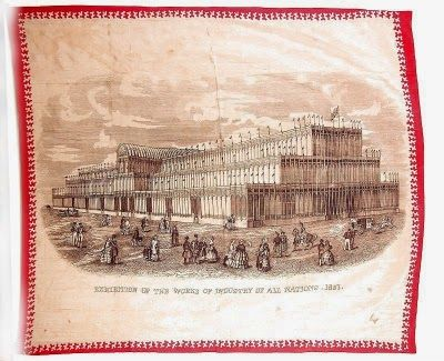 1851, Victorian & Neo Classic Revival Crystal Palace Silk Scarf - Souvenir of the Great Exhibition, London in 1851