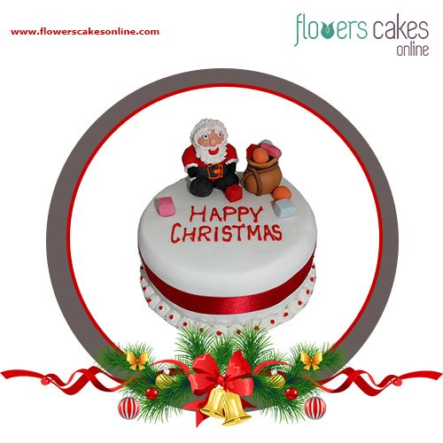 Santa Claus is ready to bring lots of presents for his favourite people. Rejuvinate your love for Santa Claus this Christmas. Get home this beautiful and delicious christmas Fondant Cake and make the celebration more delightful. #FlowersCakesOnline