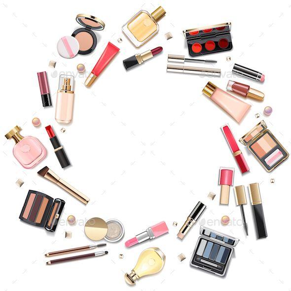 Vector Round Makeup Cosmetics Concept Makeup Cosmetics Makeup Illustration Makeup Artist Logo