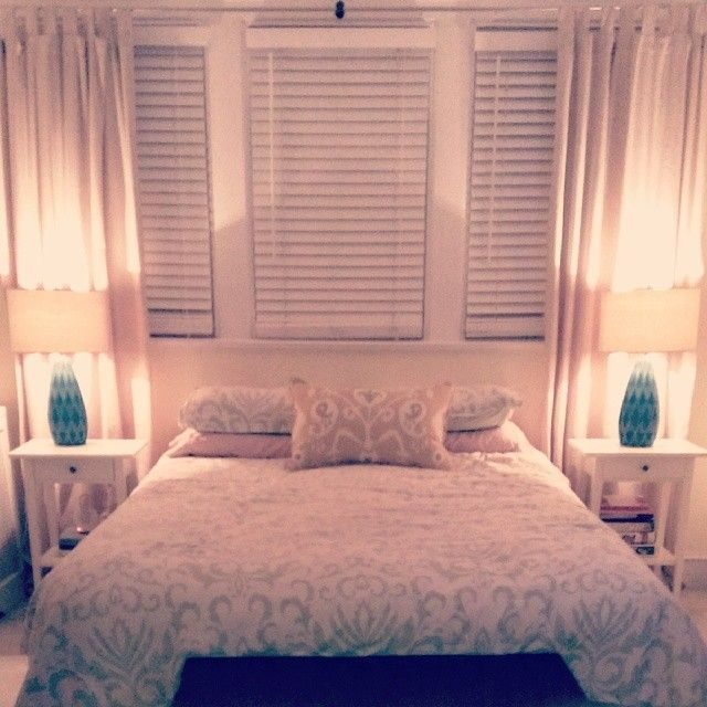 Small bedroom / Lamps: Home Goods / Bedding: Overstock / Bedside Tables: Ikea  /Blinds: Home Depot / Curtains: Ikea / Chest: Yardsale find