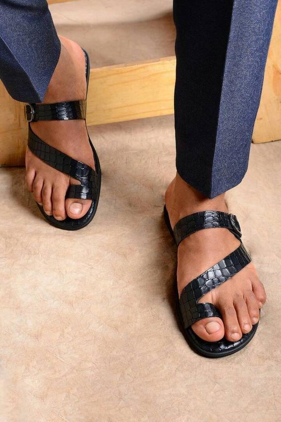 Leather Toe Ring Sandals Men Summer