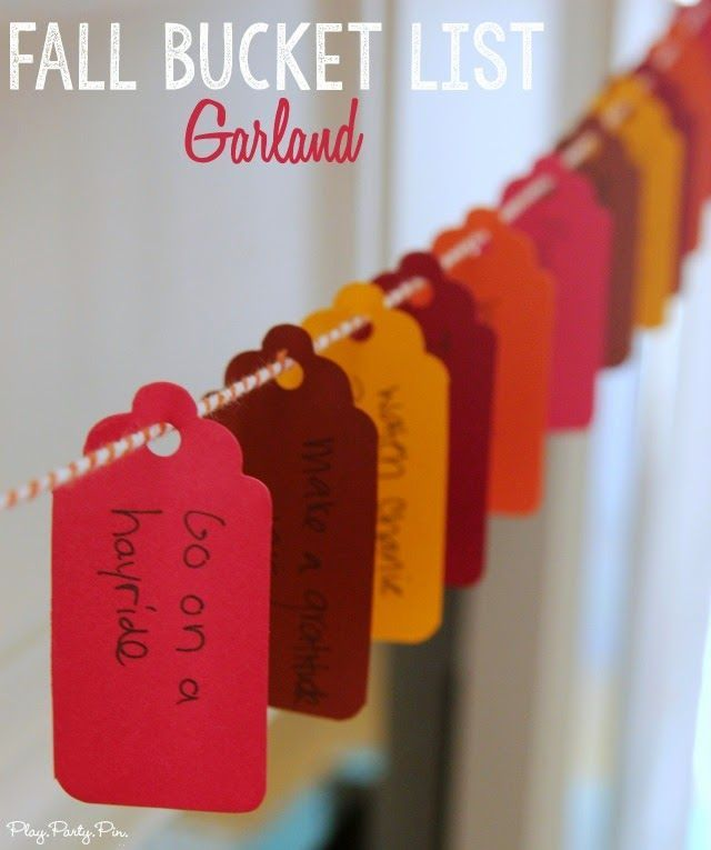 Fall bucket list garland idea from playpartypin.com - write out your fall bucket list on tags, hang them up as a garland