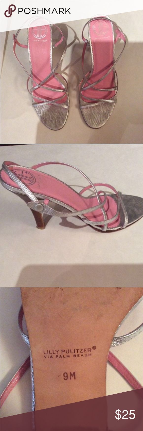 Lilly Pulitzer Silver Metallic Strappy High Heel EUC Authentic Lilly Pulitzer Silver Strappy party heels. Wear on the bottom of the sole, as pictured. When worn, they look in absolutely brand new condition though! Retailed for $150. Heel is 3in high Lilly Pulitzer Shoes Heels