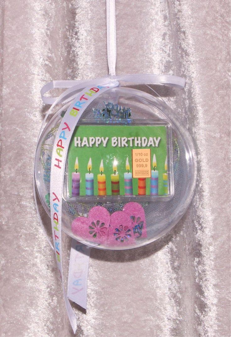 1/10 Oz. (3,1 G) Gold Gift Bar Motif: Happy Birthday With Candles In  Plexiglass Ball Handmade Decorated Birthday Gift