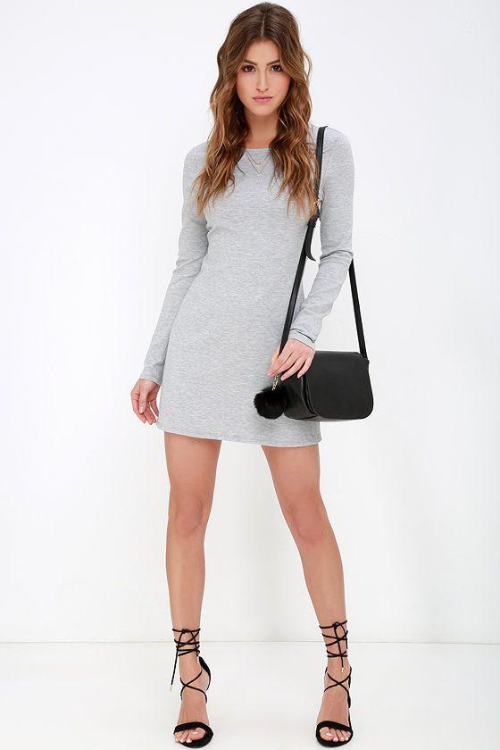Perfectly Posh Grey Long Sleeve Dress at Lulus.com!