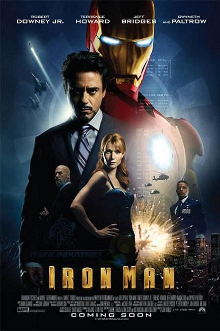 Iron Man (2008) PG-13 - Stars: Robert Downey Jr., Gwyneth Paltrow, Terrence Howard.  -  After being held captive in an Afghan cave, an industrialist creates a unique weaponized suit of armor to fight evil.  - ACTION / ADVENTURE / SCI-FI